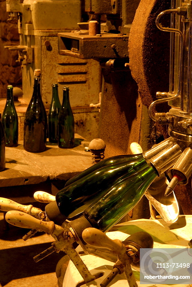 Wine bottles at wine cellars, Remich at river Moselle, Luxembourg, Europe