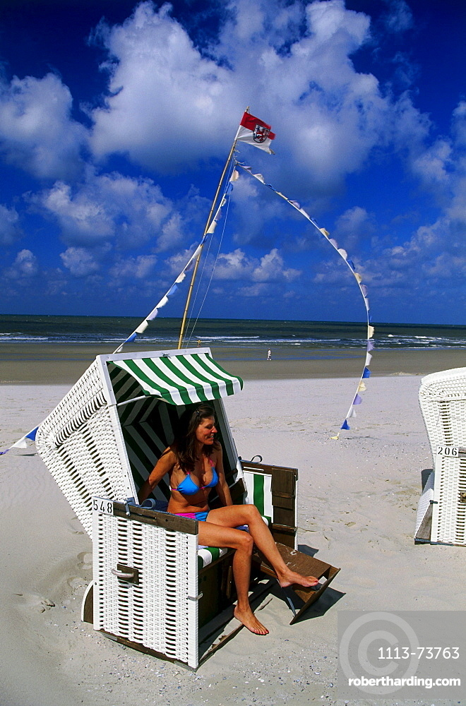 Beach chair, Wangerooge, East Frisia, Germany