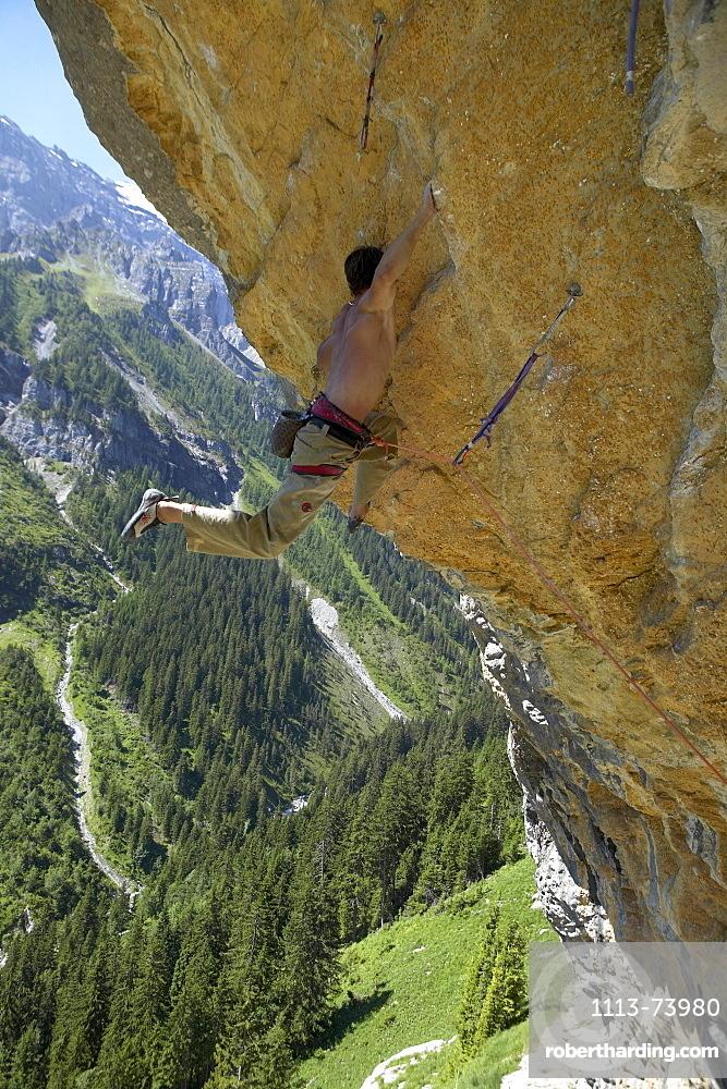 Man, Climber, Overhang, Gimmelwald, Lauterbrunnen, Switzerland