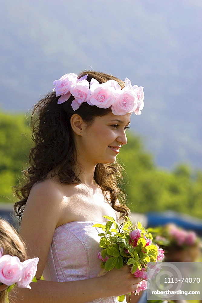 Young woman is rose queen, Rose Festival, Karlovo, Bulgaria