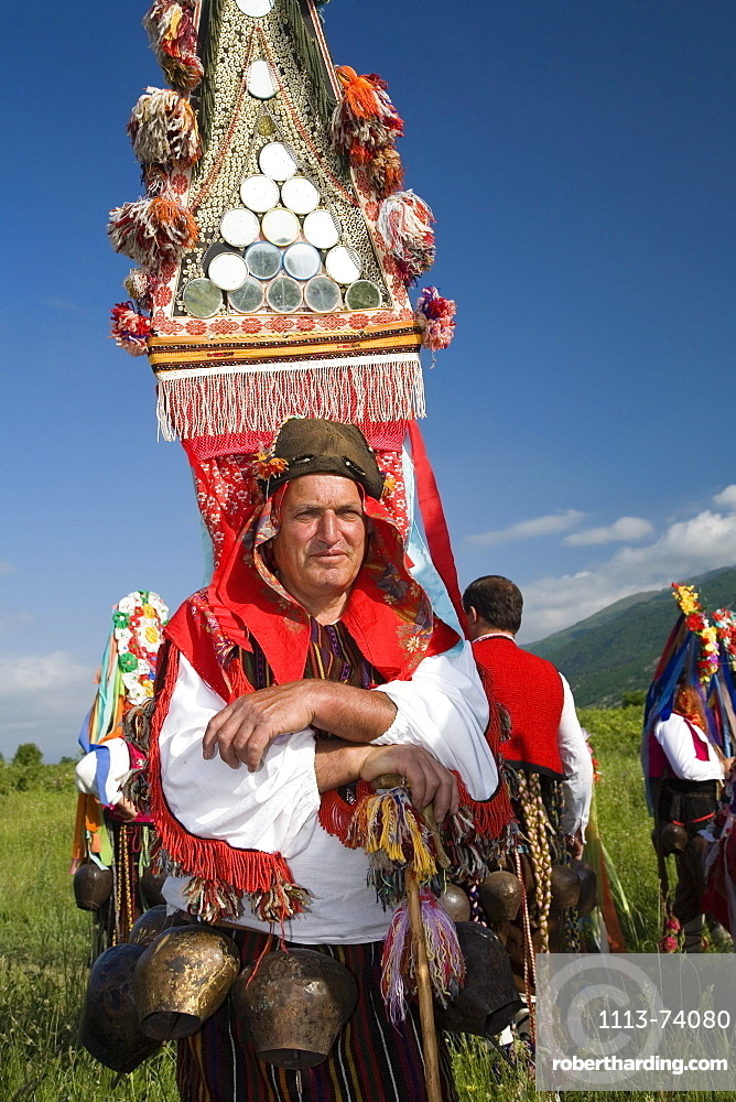 People in traditional costumes at Rose Festival, masks, Karlovo, Bulgaria, Europe
