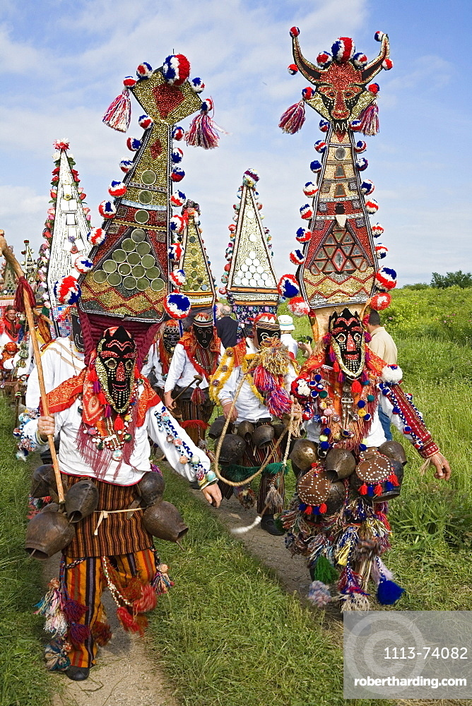 People in traditional costumes with masks, Rose Festival, men with masks, Karlovo, Bulgaria, Europe