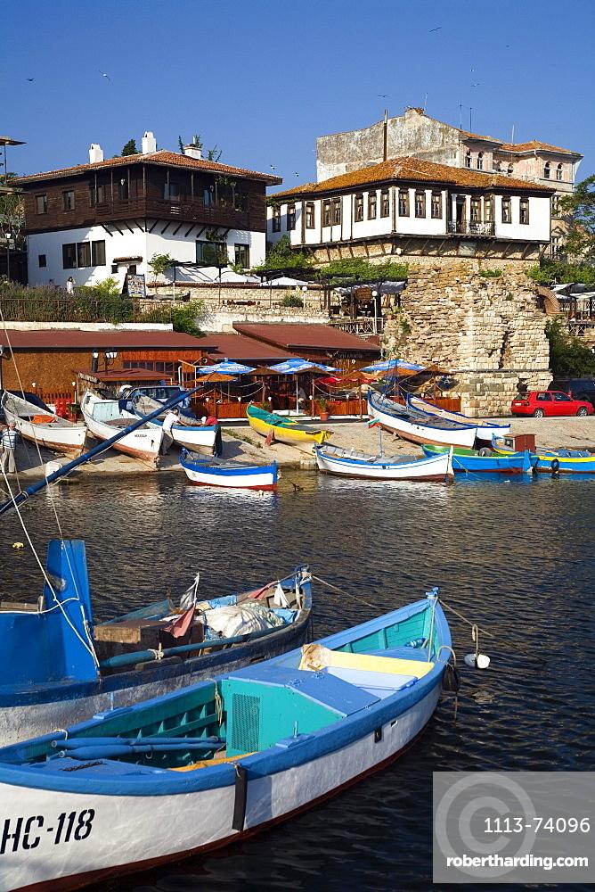 Boats at harbour, Nesebar, Black Sea, Bulgaria, Europe