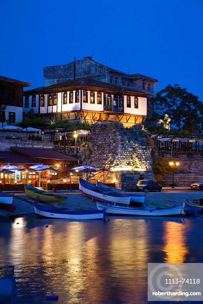 Boats at harbour in the evening, Nesebar, Black Sea, Bulgaria, Europe