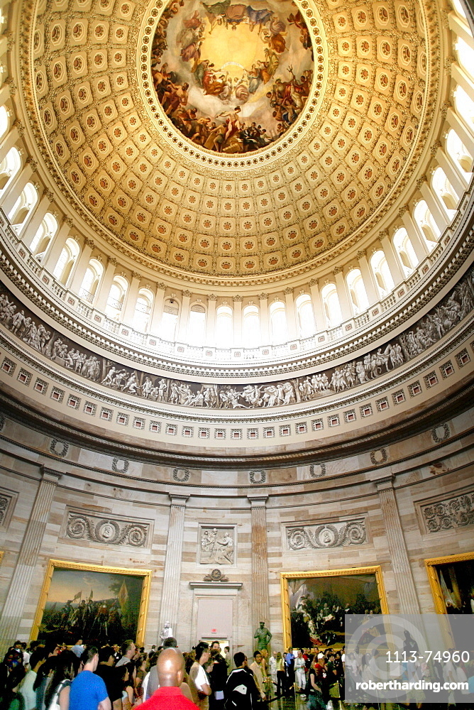 Dome ceiling, Rotunda interior, United States Capitol, the United States Congress, the legislative branch of the U.S. federal government, Washington DC, United States, USA