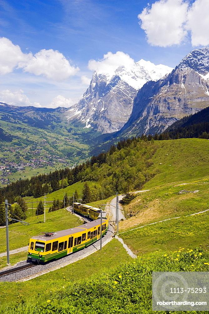 Jungfraubahn on the way from Grindelwald to Kleine Scheidegg, Bernese Oberland (highlands), Canton of Bern, Switzerland