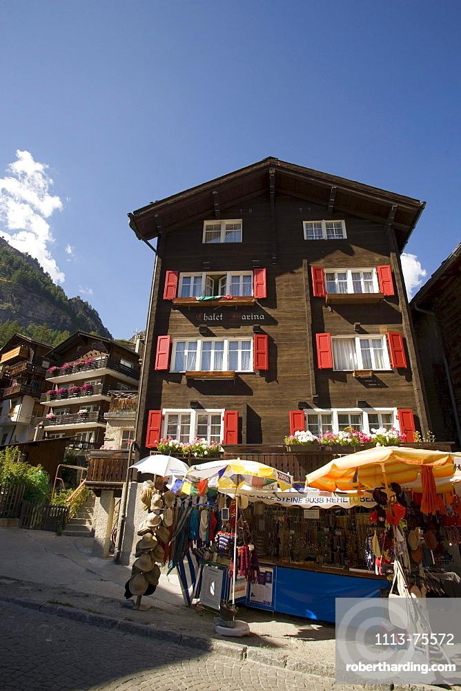 Souvenir stall at Bahnofplatz, Zermatt village, Zermatt, Valais, Switzerland