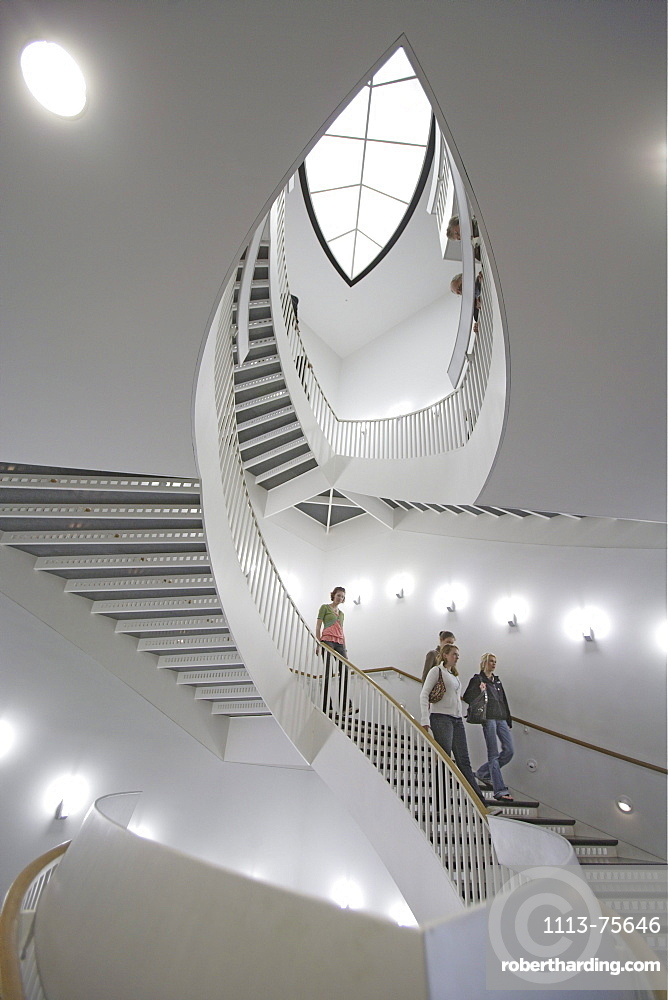 People at staircase at the Museum of Contemporary Art, Chicago, Illinois, America
