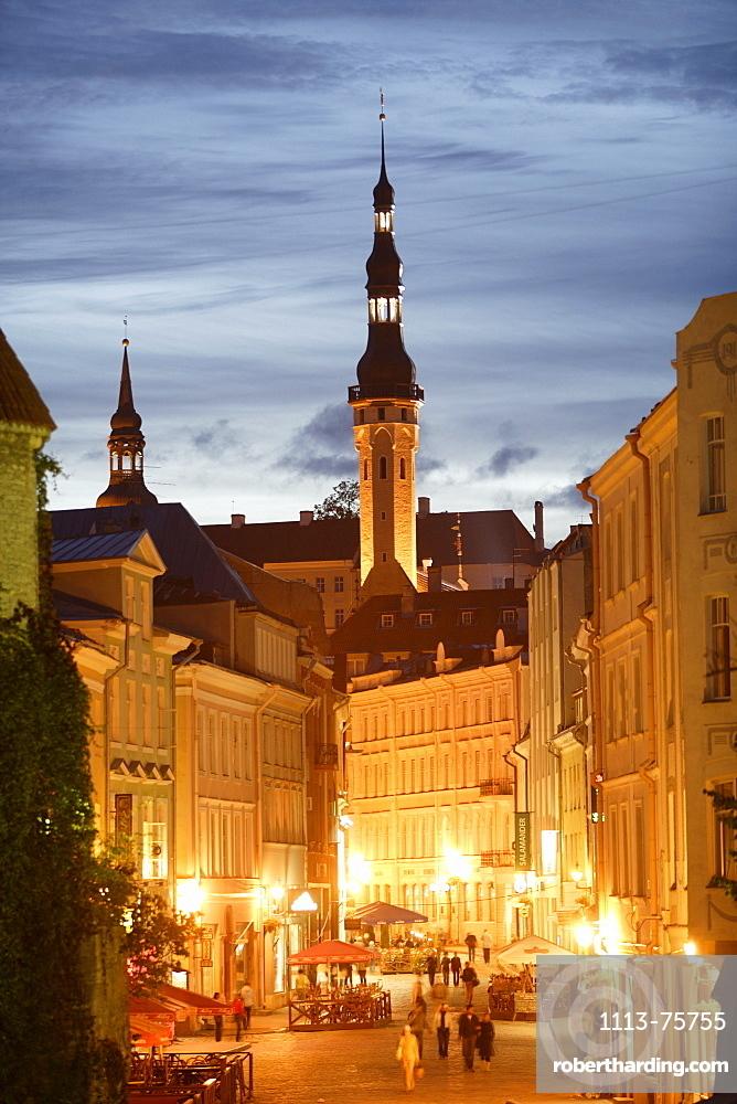 Viru street and steeple of the old city hall, Tallinn, Estonia