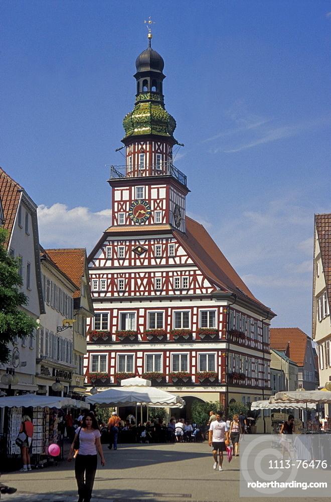 Townhall in the sunlight, Kirchheim unter Teck, Baden-Wuerttemberg, Germany, Europe