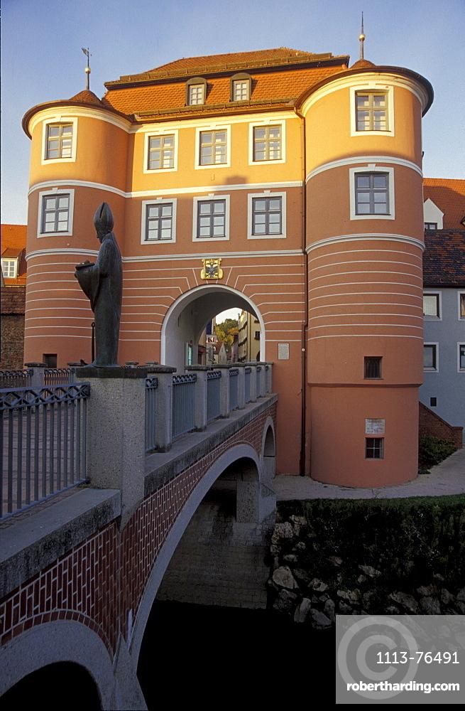 View at bridge and gate Rieder Tor, Donauwoerth, Bavaria, Germany, Europe