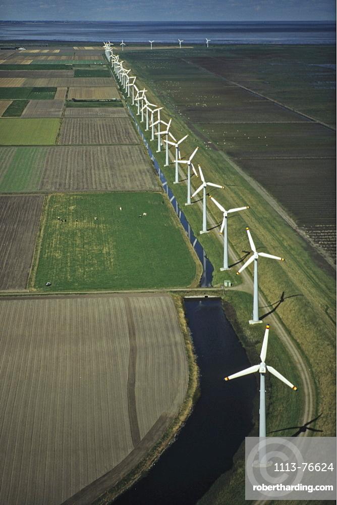 aerial photo of wind farm, North Sea coast, Schleswig Holstein, northern Germany