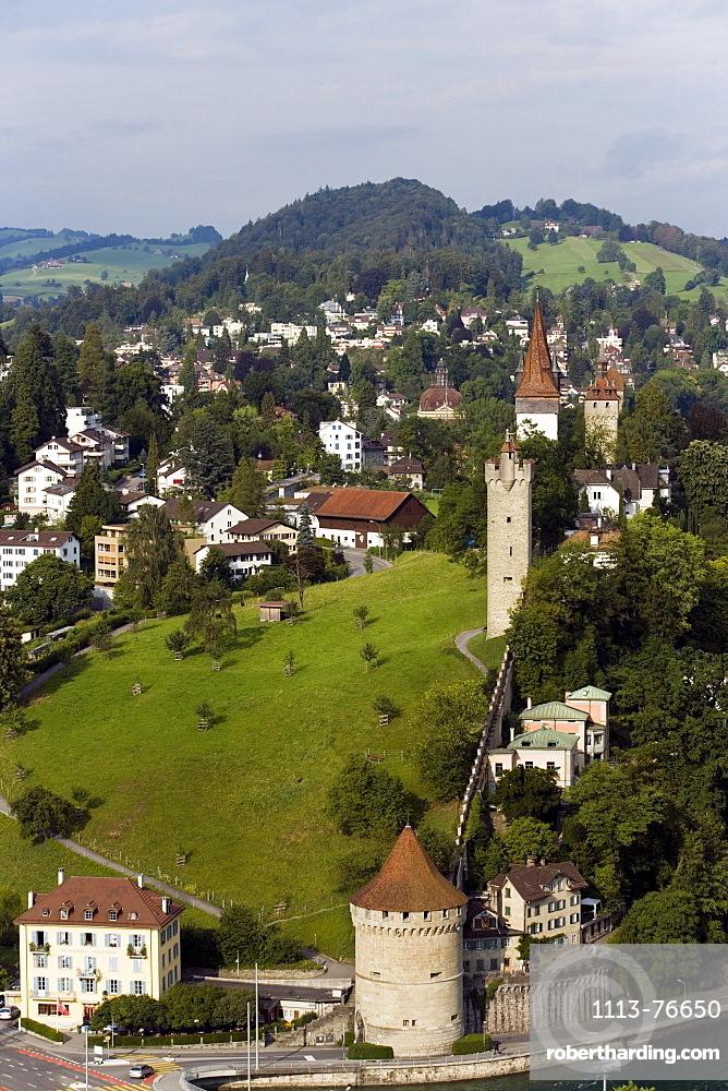 View on city wall with Maennliturm, Luegisland Tower and Wachturm (watch tower), Lucerne, Canton Lucerne, Switzerland