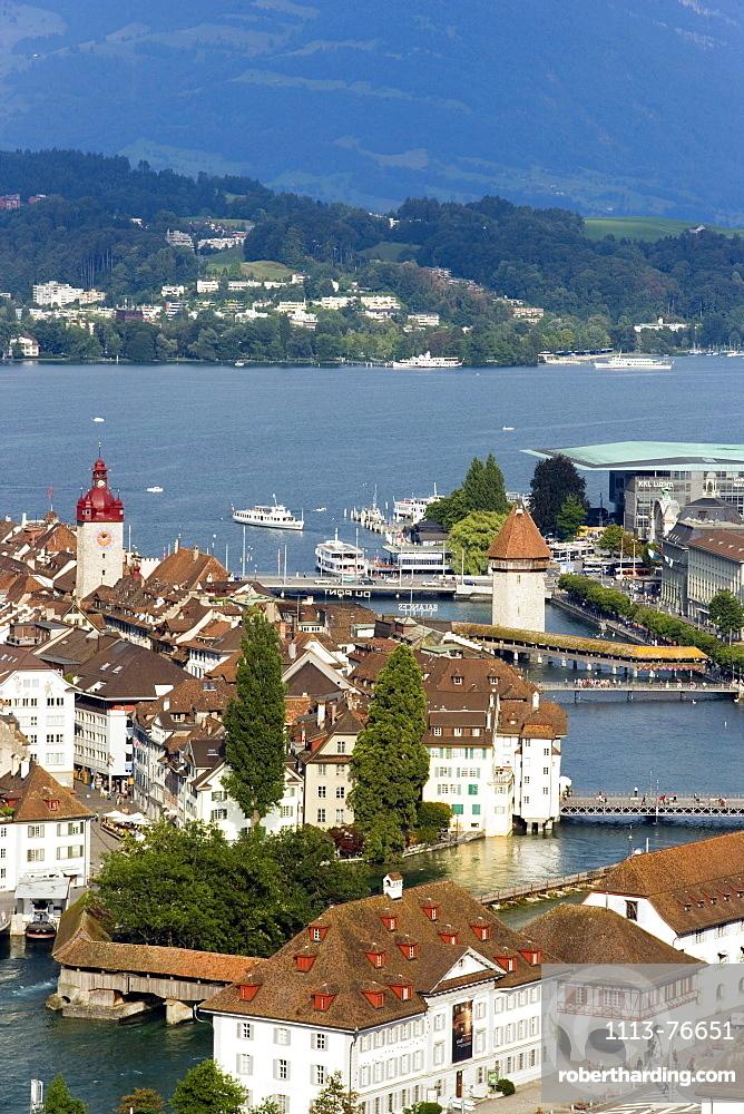 Aerial shot of river Reuss with Kapellbruecke (chapel bridge, oldest covered bridge of Europe) and Wasserturm, Lucerne, Canton Lucerne, Switzerland