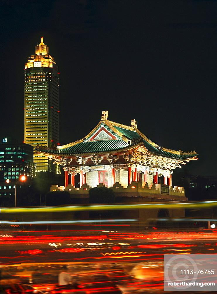 Mitsukoshi Tower and old city gate, Taipei, Taiwan, Asia