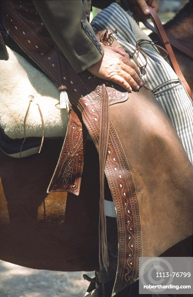 Spain, Andalucia, El Rocio, horse rir in flamenco style at whitsan festival