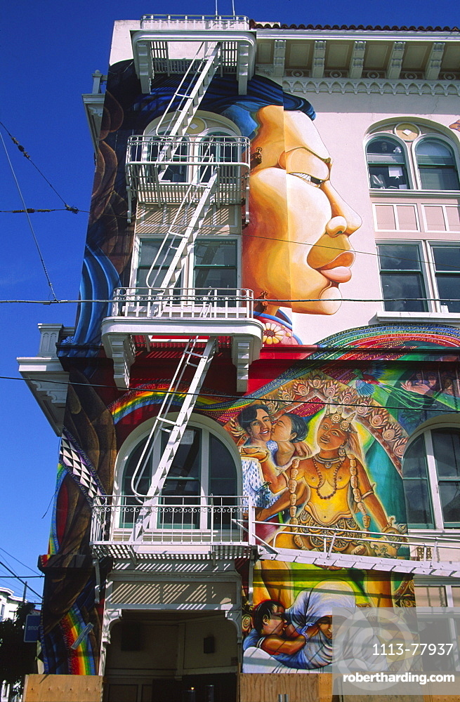 California San Francisco Mission district, mural of hispanic artist, wall painting