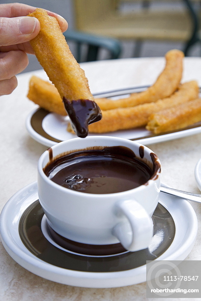 fried sweet breakfast pastry, Churros and hot chocolate