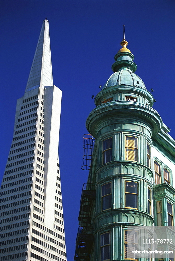 Columbus Tower Building and Transamerica Pyramid, San Francisco, California, USA