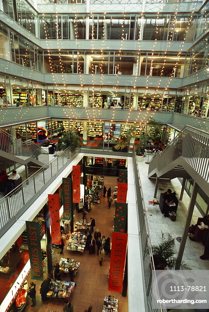 Inside Dussmanns Book Shop with Christmas Decorations, Berlin, Germany