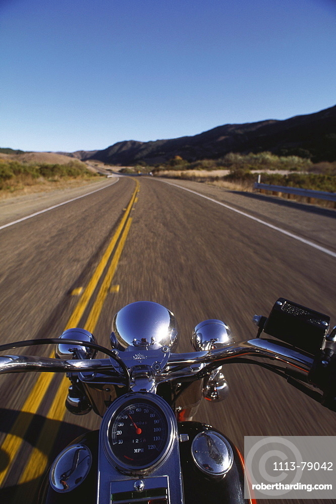 Harley Davidson, road between Lompoc and Santa Barbara, Highway No. 1, California, USA