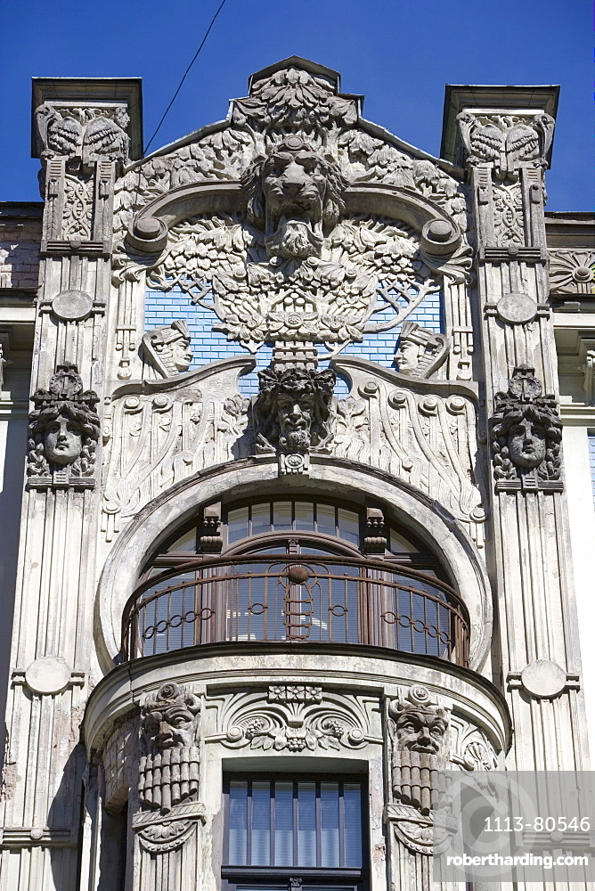 Detail of an art deco facade in Alberta Street, Riga