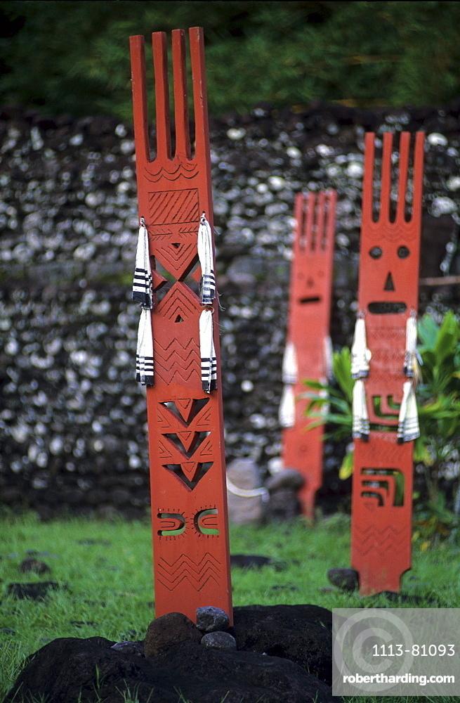 Sculpturs at Marae Mahaiatea on the south coast of the island, Tahiti, French Polynesia, south sea