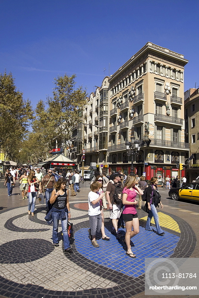 Barcelona, Ramblas, mosaic by Joan Miro, people
