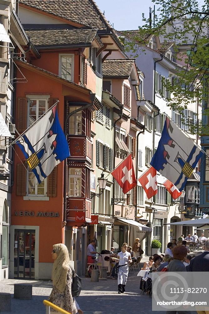 Switzerland Zurich, Augustinergasse, old city center, swiss flaggs