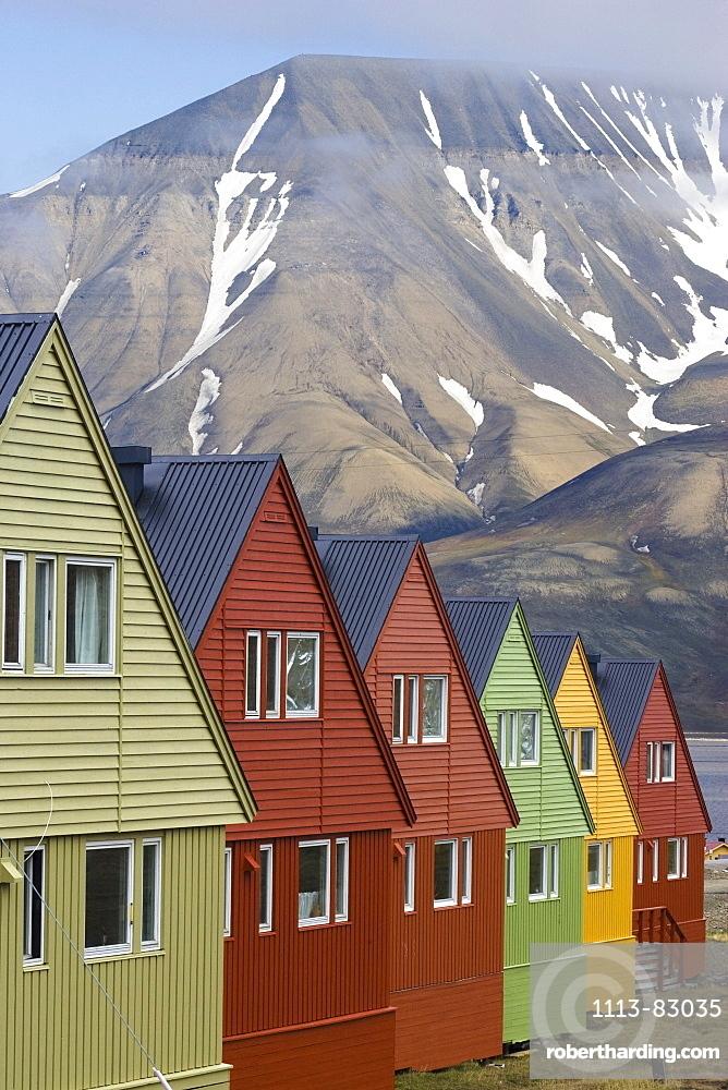 Colorful houses in Longyearbyen, Spitsbergen, Svalbard, Norway