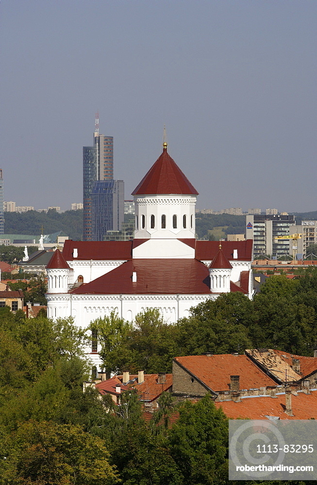 Orthodox church of the Holy Mother of God and the new business center of Vilnius in the back, Lithuania, Vilnius
