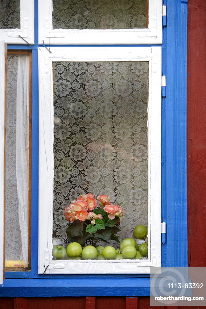 Detail of a window of a traditional wooden house in Minja (Nemunas delta), Lithuania