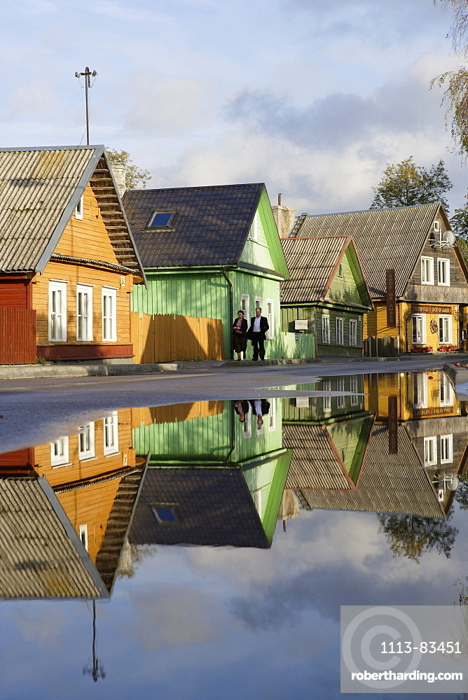 Wooden houses on the main road in the village of Trakai, Lithuania