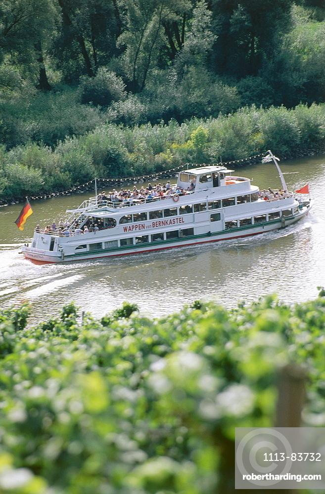 Excursion ship on river Moselle, Rhineland-Palatinate, Germany