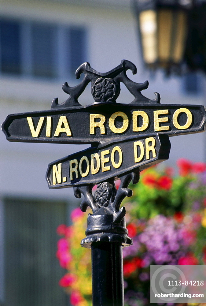 Street sign on Rodeo Drive, Beverly Hills, L.A., Los Angeles, California, USA