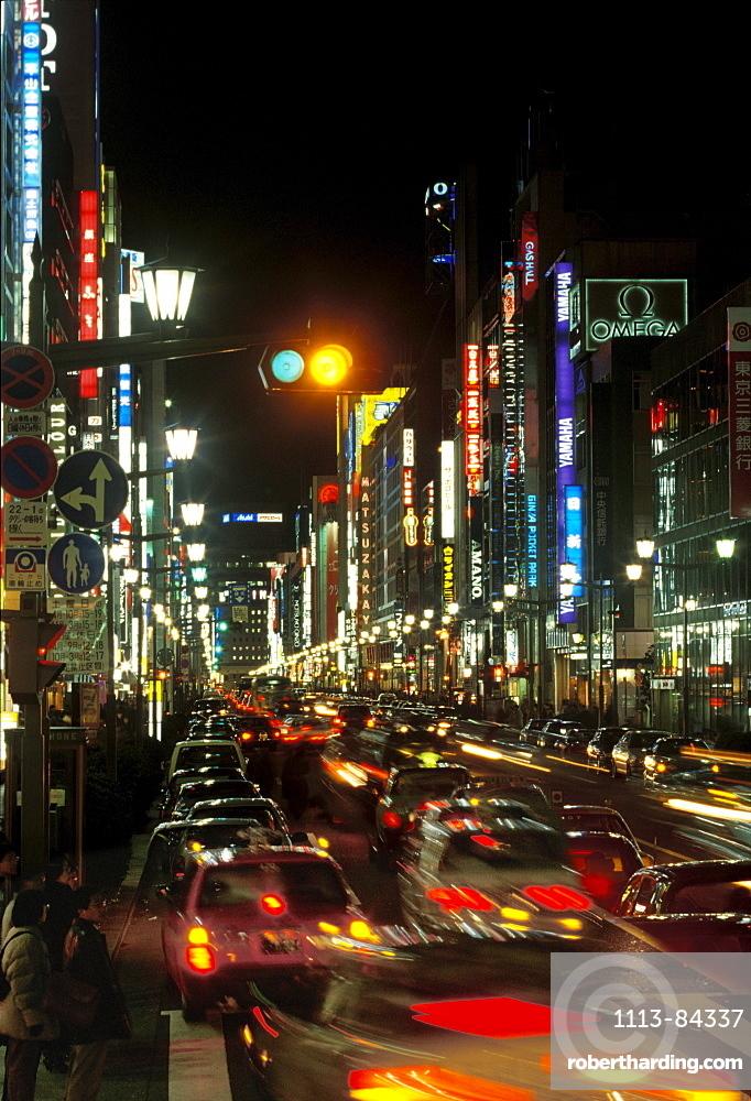 Tokyo at night, Ginza, citylihgts, traffic, Japan