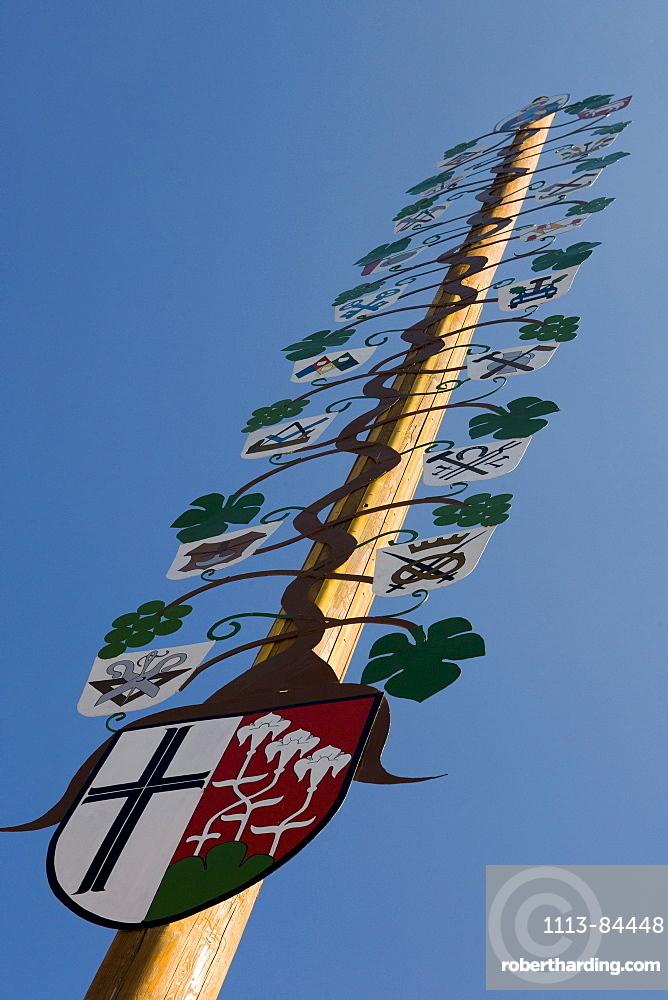 A May pole in Hammelburg, Rhoen, Bavaria, Germany