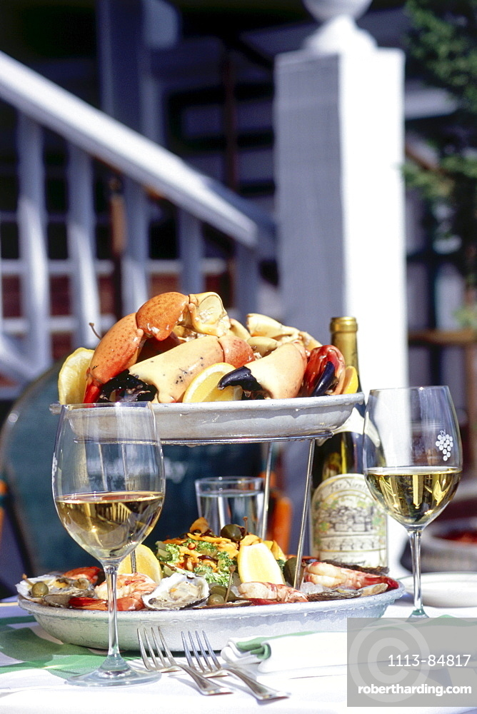 Plate of stone crabs and different shellfish and seafood, Restaurant Smith & Wollensky, South Beach, Miami, Florida, USA