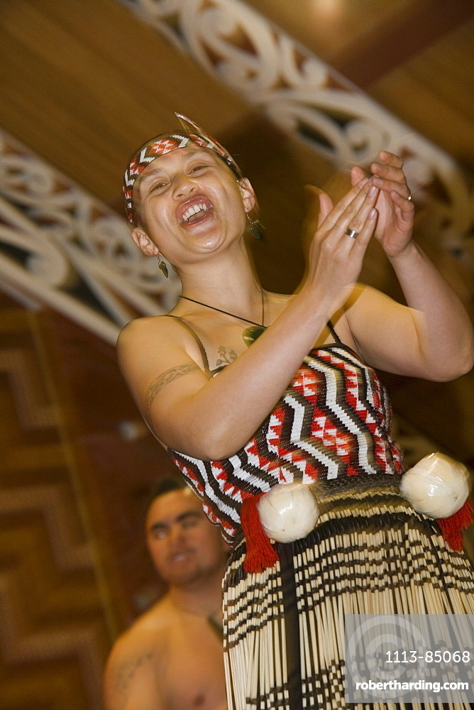 Maori Woman Performing Traditional Dance, Te Puia Maori Cultural Performance, Rotorua, North Island, New Zealand