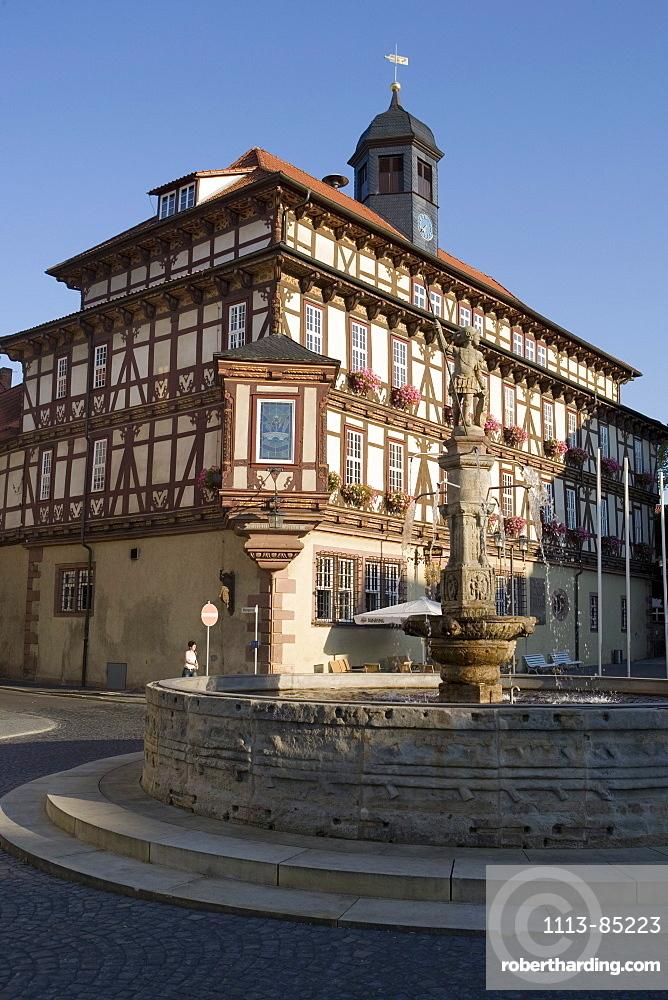 Fountain and Vacha Rathaus City Hall, Vacha, Rhoen, Thuringia, Germany