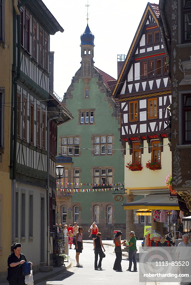 Half timbered houses in the old town of Schmalkalden, Thuringia, Germany
