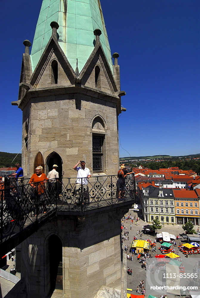 People, tourists on the platform the church tower, Meiningen, Thuringia, Germany