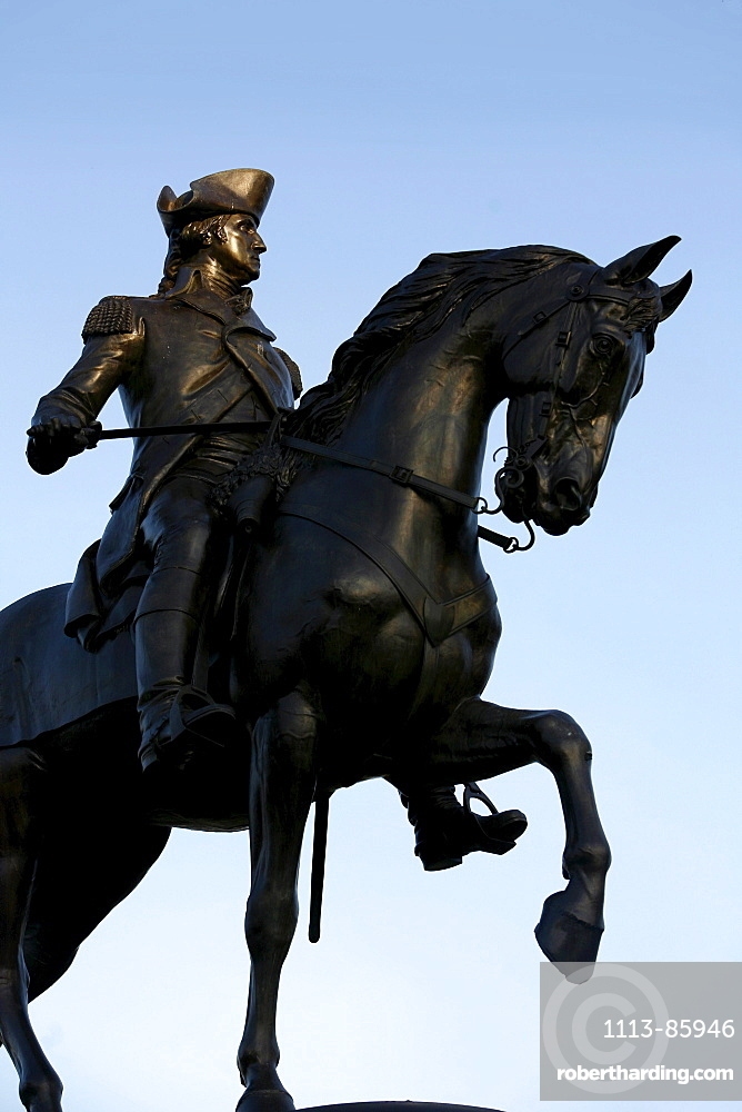 A statue of General George Washington, Public Garden, Boston, Massachusetts, USA