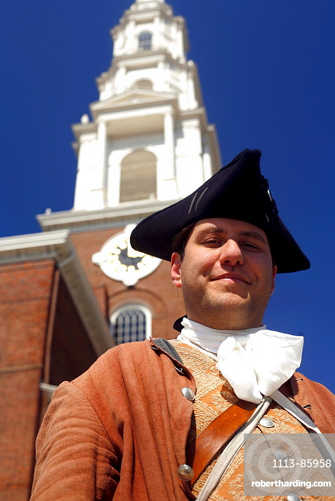 Man in historic costume at Park Street Church, Boston, Massachusetts, USA