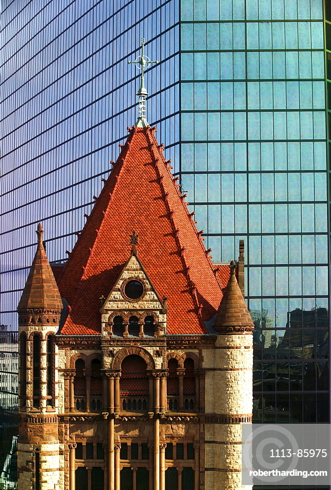 View of Trinity Church with highrise building in the background, Boston, Massachusetts, USA