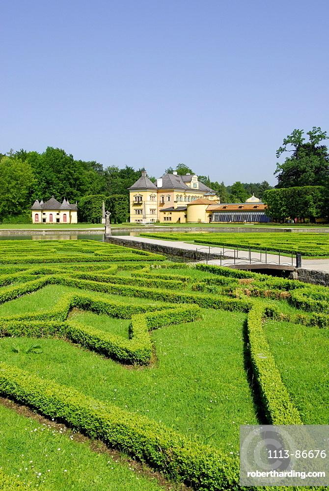 castle Hellbrunn with garden, Salzburg, Austria