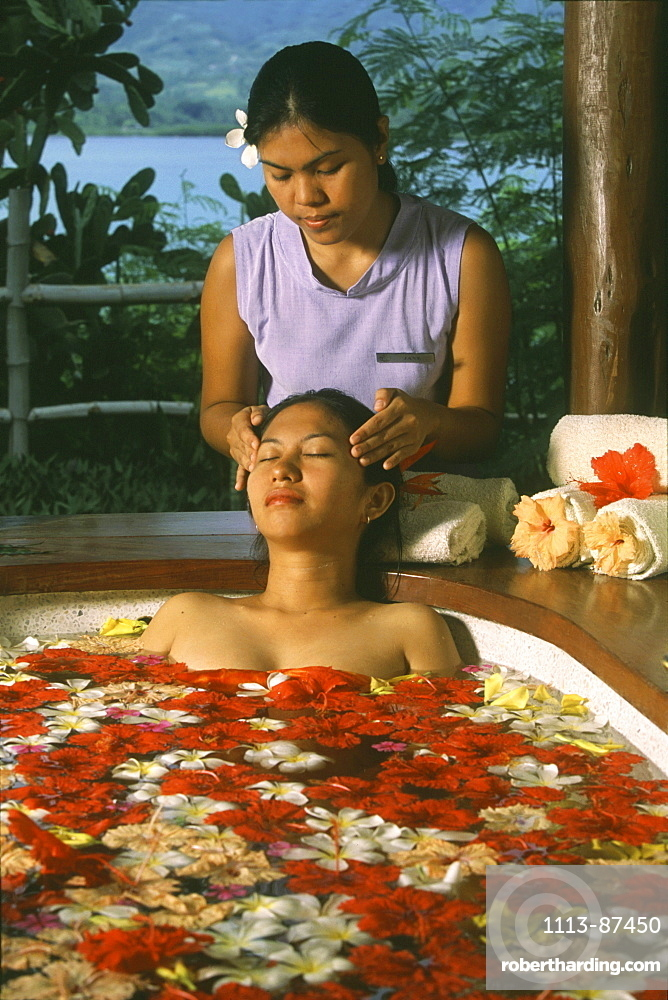 Flower bath and face massage, Badian Island, Cebu, Philippines