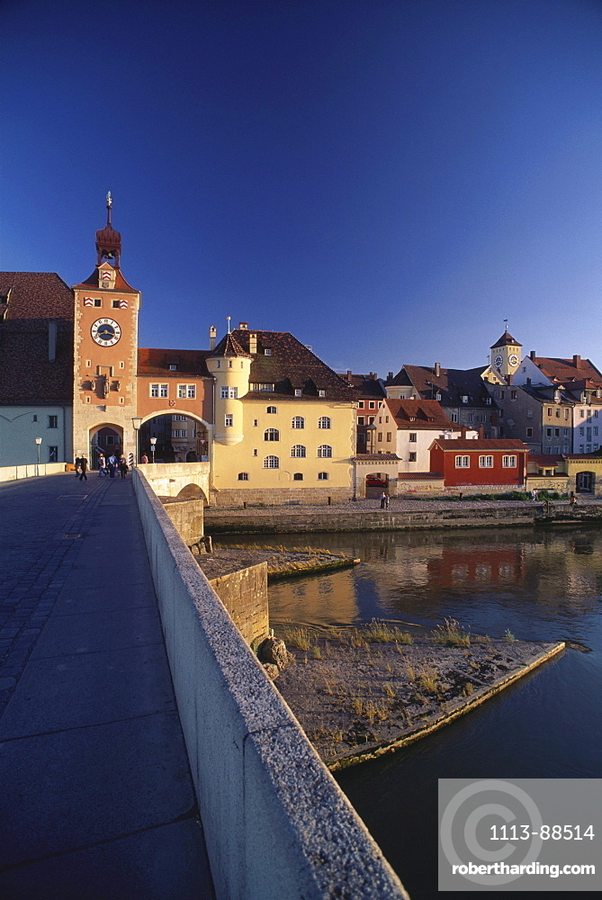 Romanesque Stony Bridge across river Danube to the medieval Old Town, Upper Palatinate, Bavaria, Germany