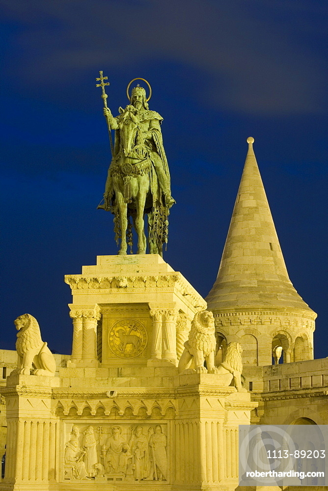 Statue and Fishermen's Bastion at Night, Buda, Budapest, Hungary