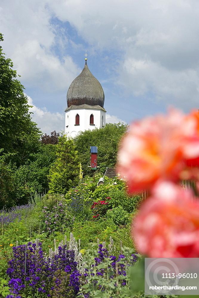 Abbey garden, Fraueninsel, Chiemsee, Chiemgau, Bavaria, Germany